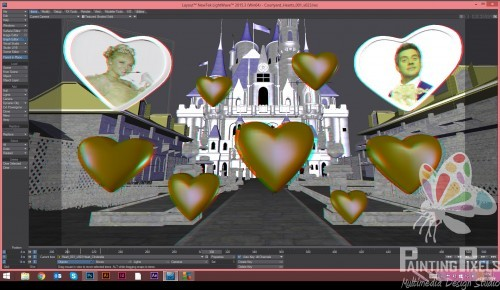 Painting Pixels 3D Cinderella Layout Hearts
