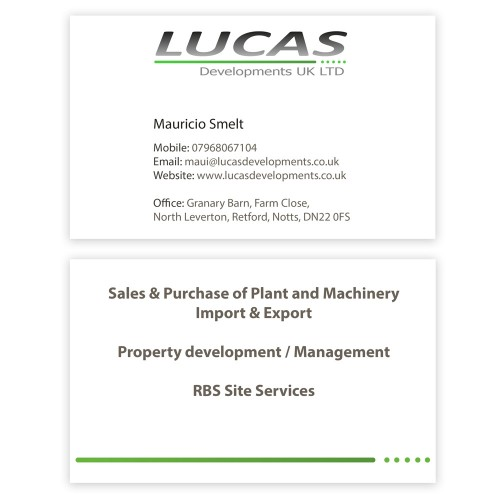 Lucas Developments Business Cards