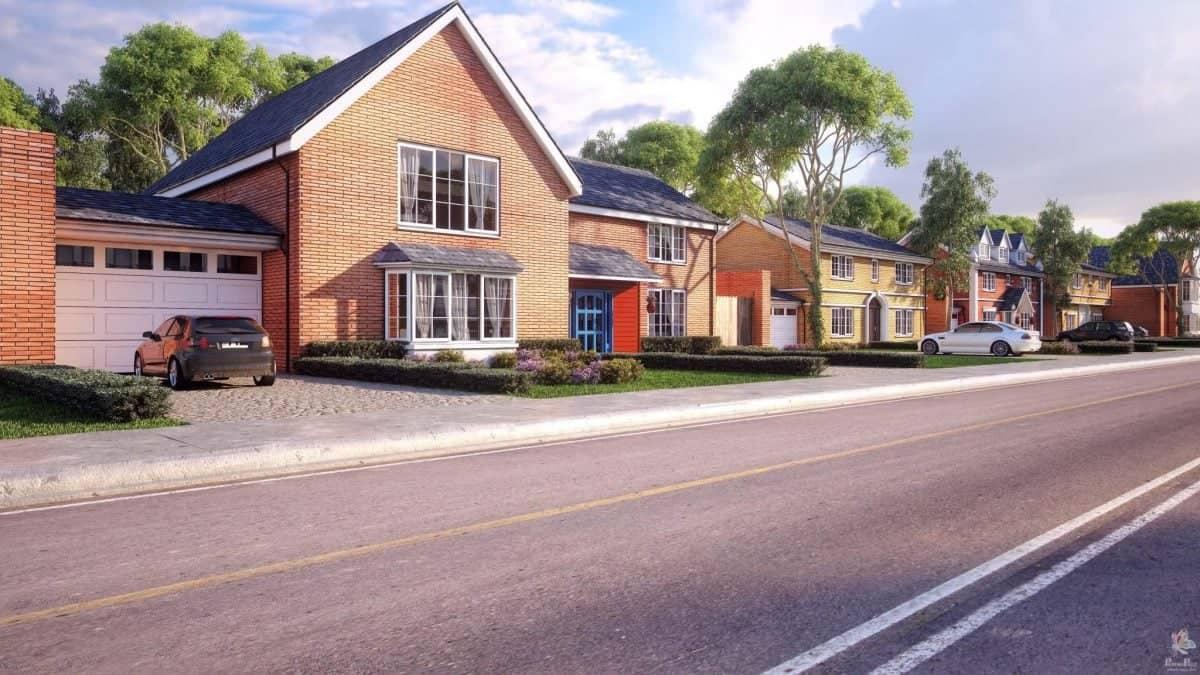 UK 3D House Building 3D Render