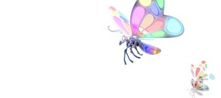 Painting Pixel Ltd Ident of our 3D Robot Butterfly