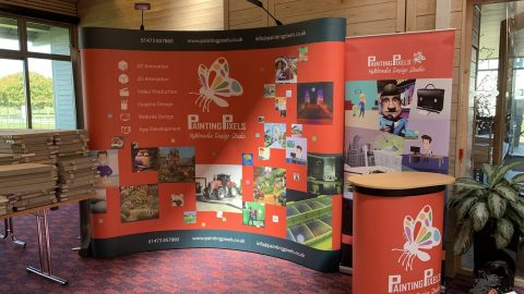 Painting Pixels ABE Anglia Business Exhibition Stand Animation Digital Marketing Graphics Ipswich Suffolk