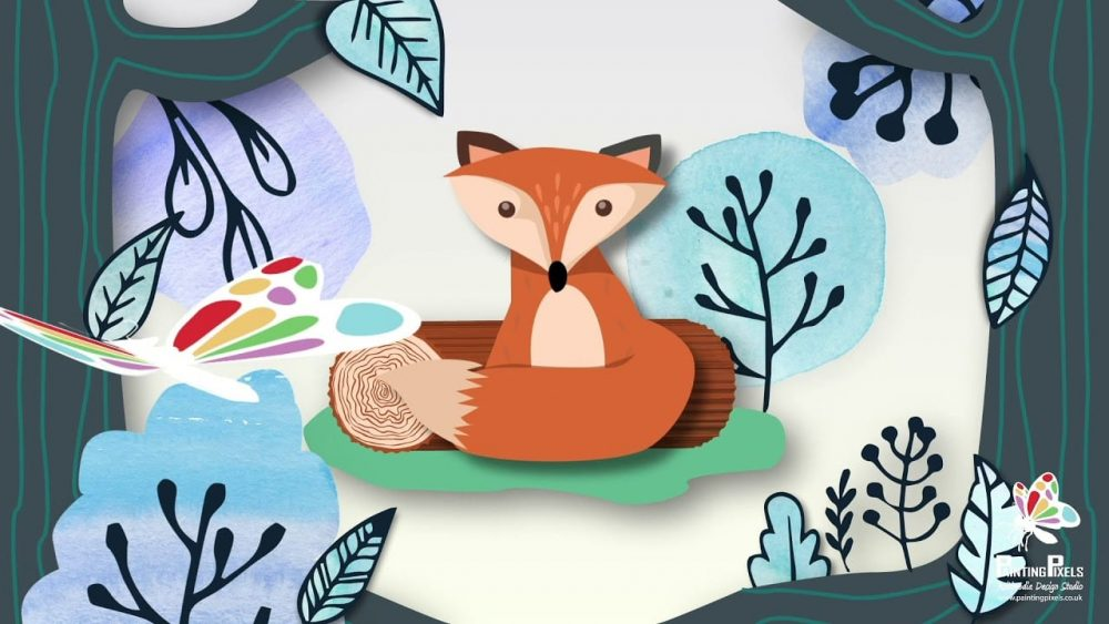 Stylised 2D Animation Scene of Fox in the Woods Ipswich Suffolk Colchester Essex London