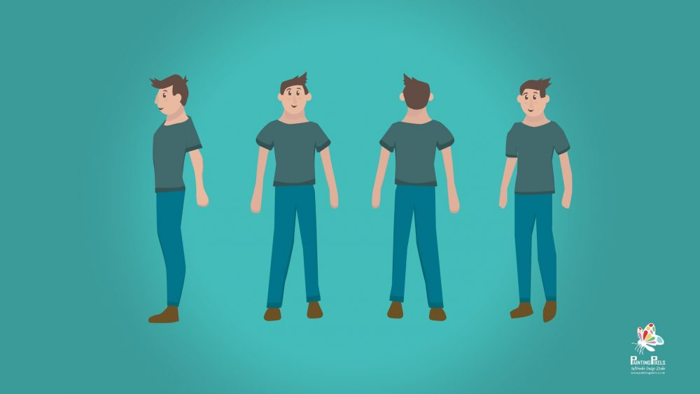 Artist working on new character animation graphics 3