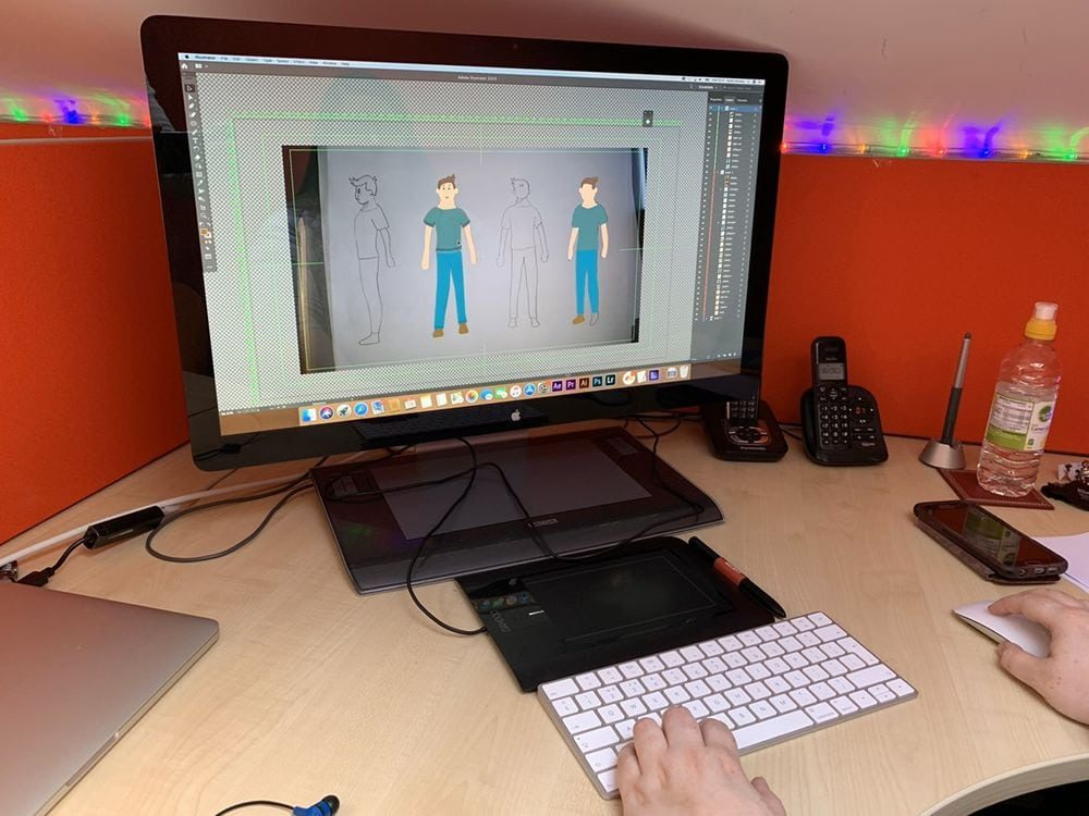 Artist working on new character animation graphics 1