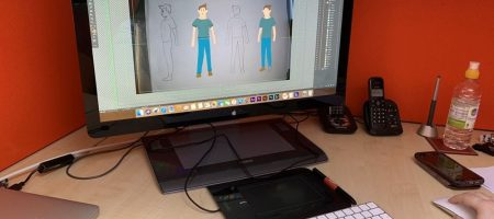 Artist working on new character animation graphics