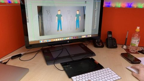Artist working on character graphic, 2d animation, graphic design, character graphic, Ipswich, Suffolk, London, Colchester, Essex