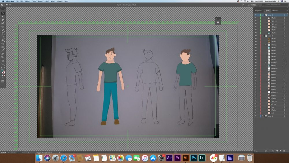 Artist working on new character animation graphics 2