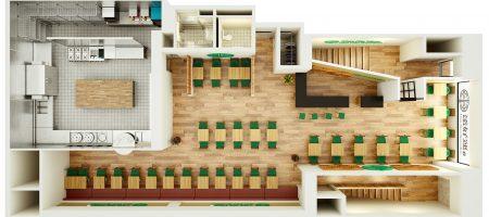 Bespoke 3D Render of Resturant