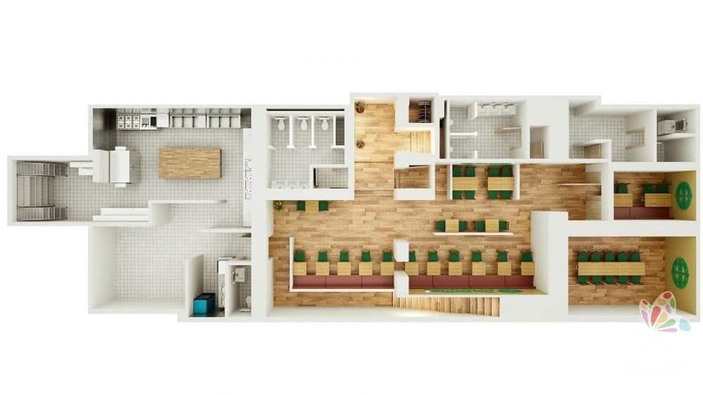 Bespoke 3D Render of Resturant 2