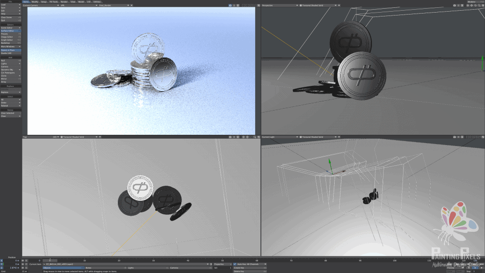 Coin render 3d modelling and animation photoreal product lightwave