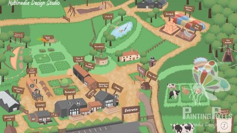 Ilustrated map graphic design 2d layout jimmys farm