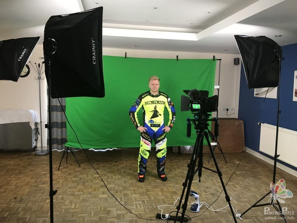 Ipswich Witches Speedway Club filming day green screen video production painting pixels suffolk recoding filming
