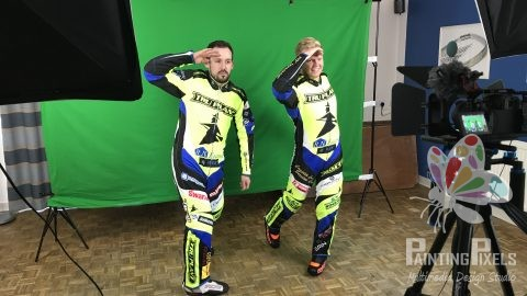 Ipswich Witches Speedway Club filming day green screen video production painting pixels suffolk recoding filming -2
