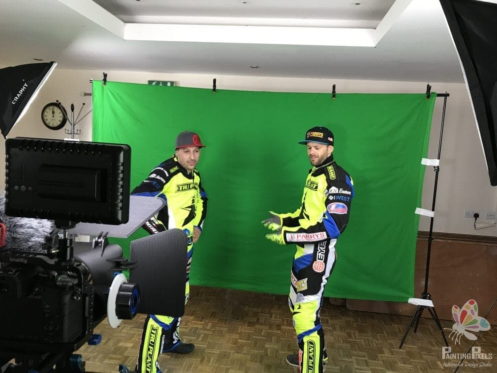 Ipswich Witches Speedway Club filming day green screen video production painting pixels suffolk recoding filming -5