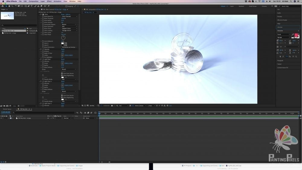 post production effects after effects render coin